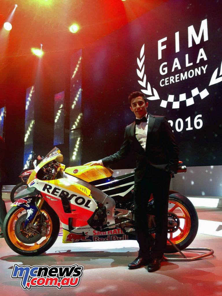 2016 FIM Gala - MotoGP Champion Marc Marquez with his Honda RC213V