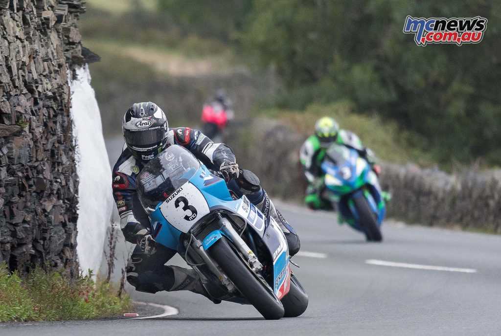 Michael Dunlop on Suzuki XR69 heading to victory in 2016 Classic TT