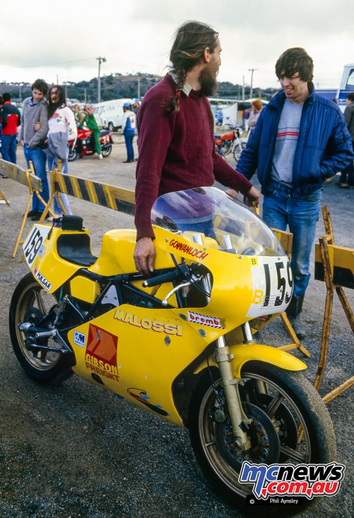 Bathurst 1984 - The Gowanloch Ducati TT2 680 with Arthur Davis (l) and the late Mic Safell (r).