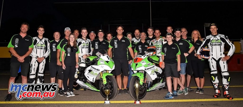 Kyle Buckley and Robbie Bugden celebrate Swann Supersport and Swann Superbike Titles in 2016. Team Manager Kelvin Reilly pictured centre - Image by Keith Muir