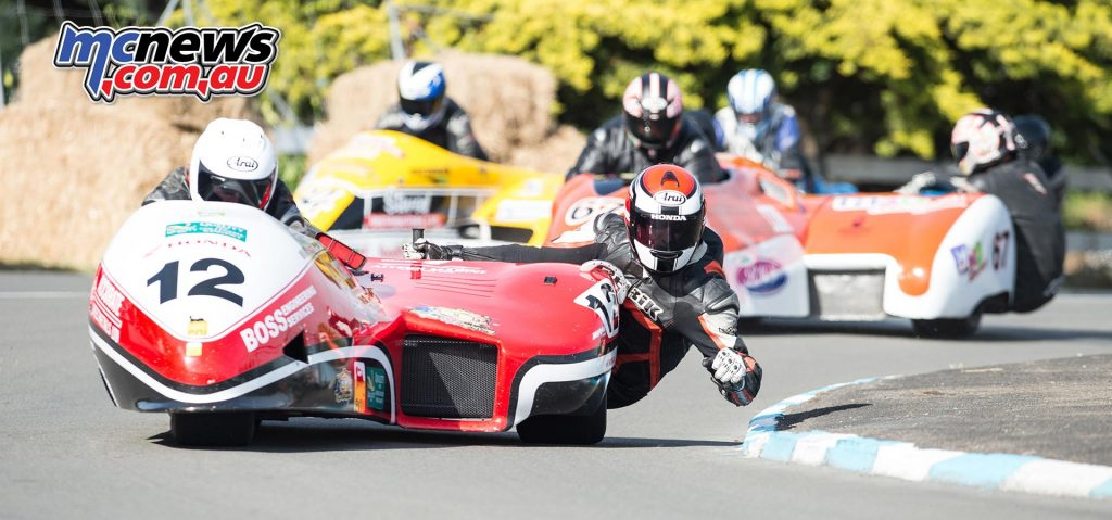 Adam Unsworth & Stu Dawe won both F1 Sidecar races at Whanganui, seen here during practice. Image by Craig Dawson