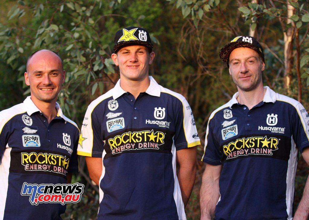 Graham Jarvis & Billy Bolt with Team Manager Andreas Hölzl - Rockstar Energy Husqvarna Factory Racing Extreme Enduro Team