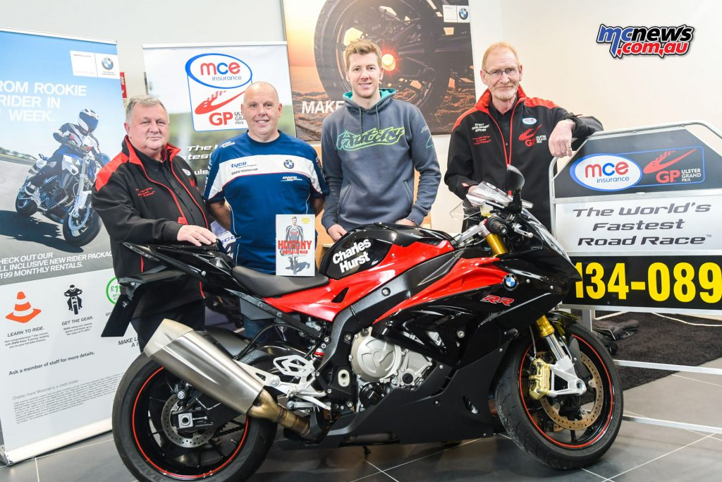 L-R: Eddie Johnston, Dundrod & District Motorcycle Club, Andy Higgins, event compere, 2016 MCE UGP Man of the Meeting Ian Hutchinson and Ken Stewart, Dundrod & District Motorcycle Club pictured at Hutchy's book signing at Charles Hurst BMW Motorrad on 3rd December.