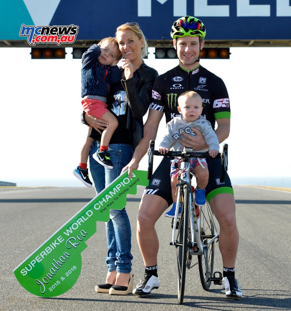 Jonathan Rea with wife Tatia, and children Jake and Tyler - Image by Russell Colvin