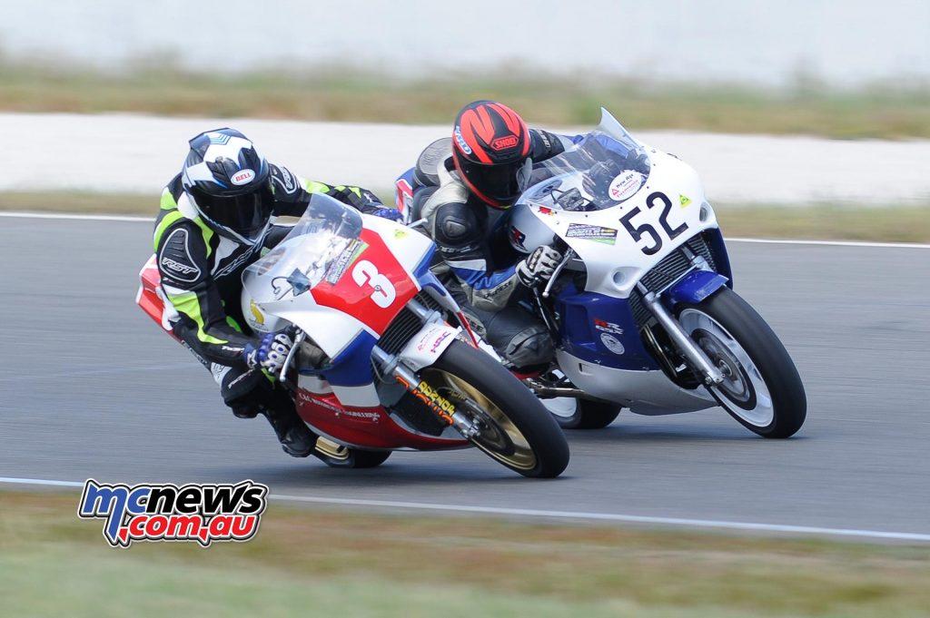 Australian Historic Road Racing Championships 2016 - Image by Colin Rosewarne - Mal Campbell (Honda RC30) and Ryan Taylor (Suzuki GSX-R750R)