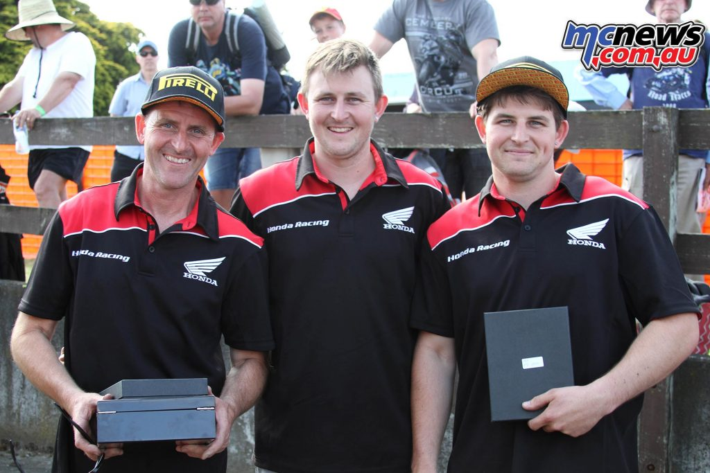 The Rees family. F1 Superbike winner Tony, Mitch - 9th in F1 Superbike series, & F2 600 class winner Damon Rees - Image by Terry Stevenson