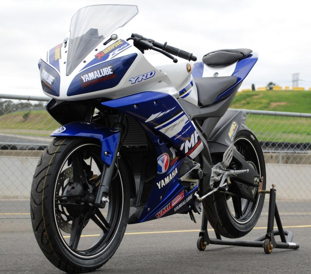 $4699 gets you a race prepped Yamaha R15 set up ready to race with braided lines, crash knobs, performance exhaust, altered gearing and race fairings