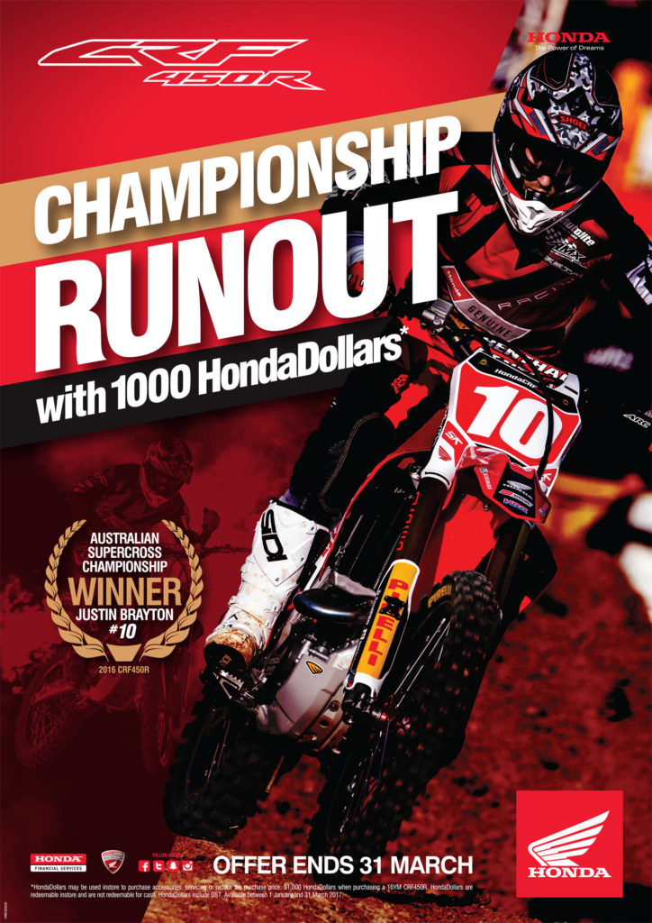 The 2016 Honda CRF450R Championship runout sale
