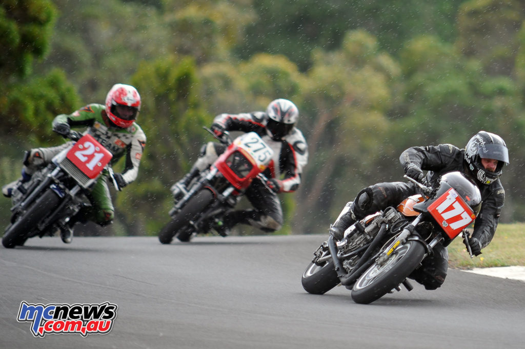 2016 South Australian Historic Road Racing Championship - Mac Park - Mark Bond (Kawasaki Z900), Denis Ackland (Kawasaki Z1000 Mk2), Mark Lithgow (Kawasaki Z550)