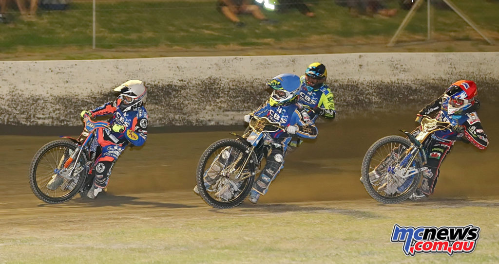 2017 Australian Speedway Championship - Round one Gilman Raceway - The final, left to right, Dave Watt, Justin Sedgmen, Troy Batchelor, Nick Morris
