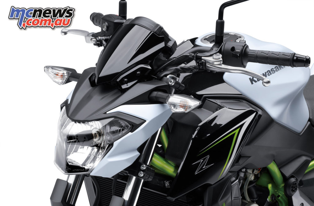 The Kawasaki Z650 features similar styling to the Z1000 or Z800 but a little less extreme