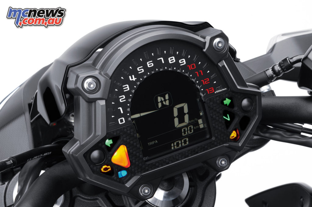 The Kawasaki Z650 has a different dash, more suited to a nakedbike