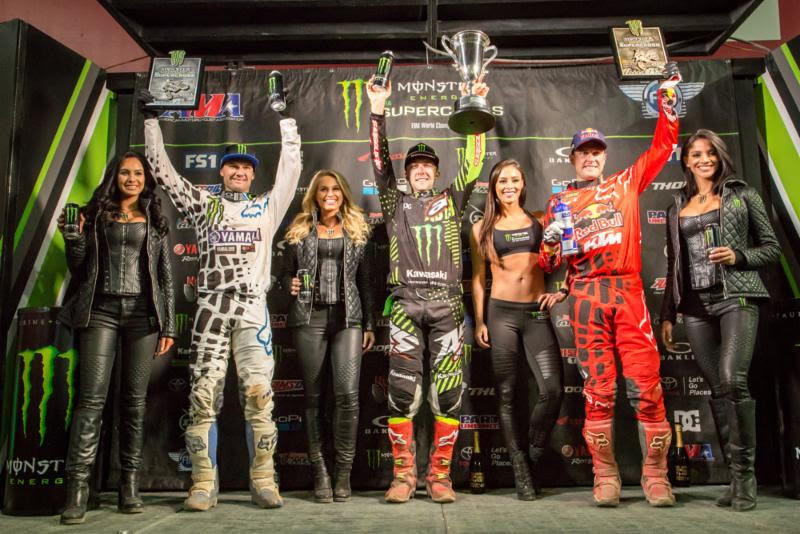 The 450SX Class podium - Tomac (center), Reed (left), and Dungey (right). Photo: Feld Entertainment, Inc.