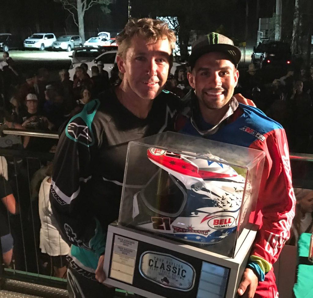 Troy Bayliss with 2017 Bayliss Cup winner Jared Mees