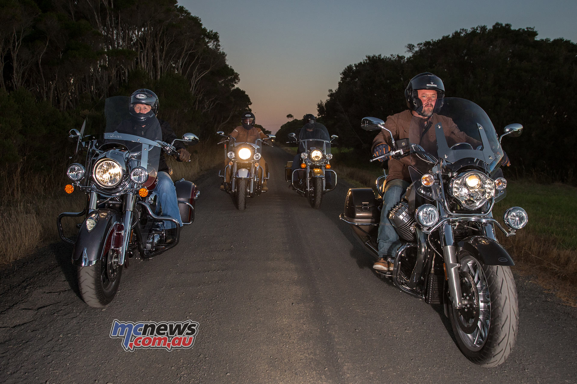 Darren leads the way on the Moto Guzzi California Touring in this shot alongside Christone on the Indian Springfield while Trev is further behind on the Triumph Thunderbird LT and Gav brings up the rear on the Harley-Davidson Road King - Image by Andrew Gosling