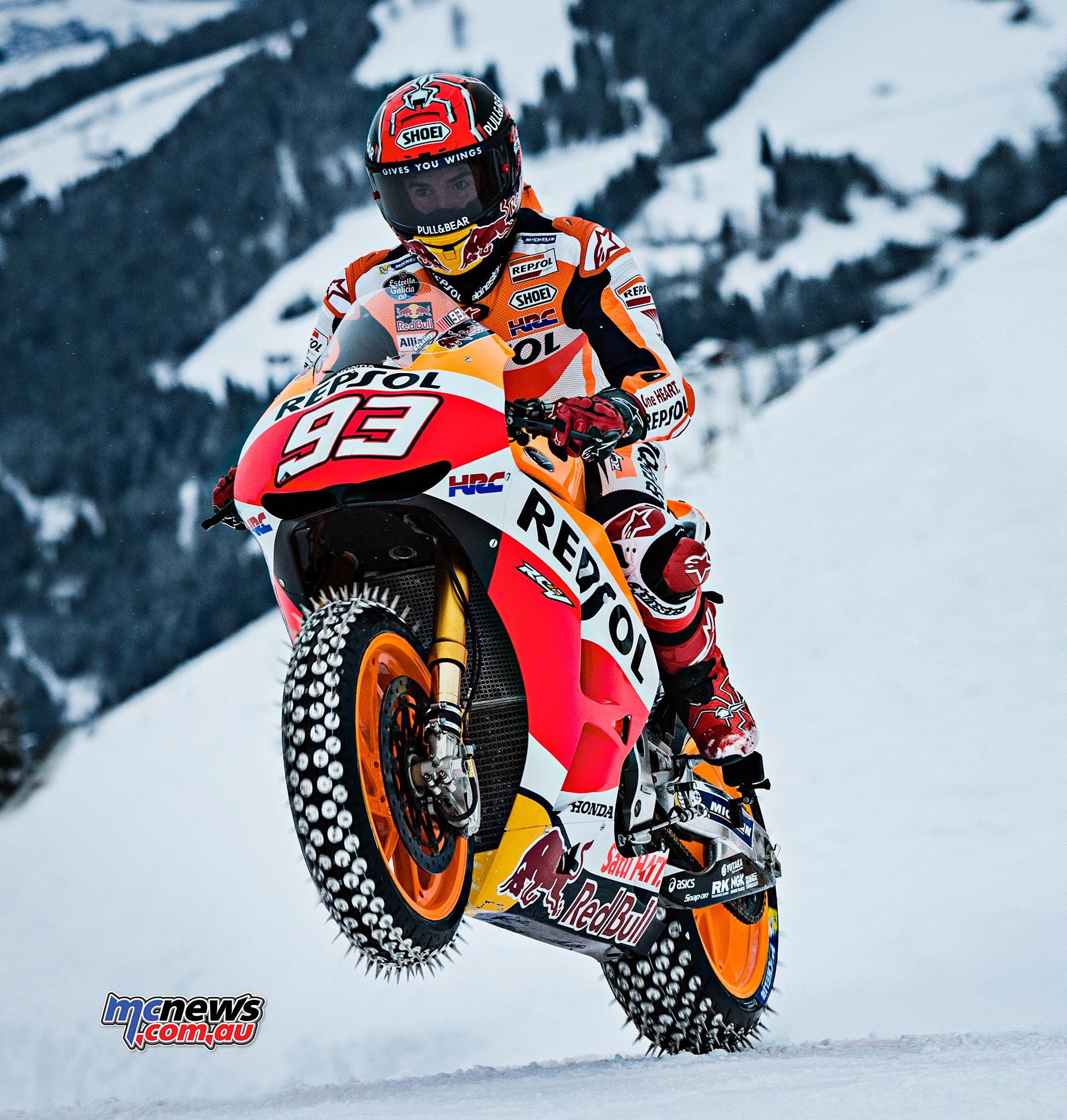 Marc Marquez rides the snow on RC-213V MotoGP | MCNews.com.au