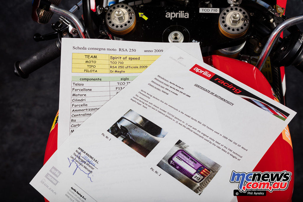 2009 Aprilia RSA 250 - Ridden by Mike Di Meglio of the Mapfre Aspar Team - Certificate of Authenticity