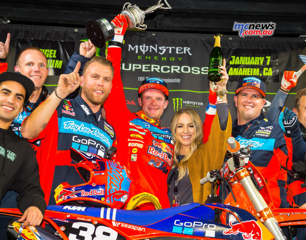 2017 AMA Supercross - Round 1 Anaheim - Shane McElrath - 250SX Podium Photo: Feld Entertainment, Inc.
