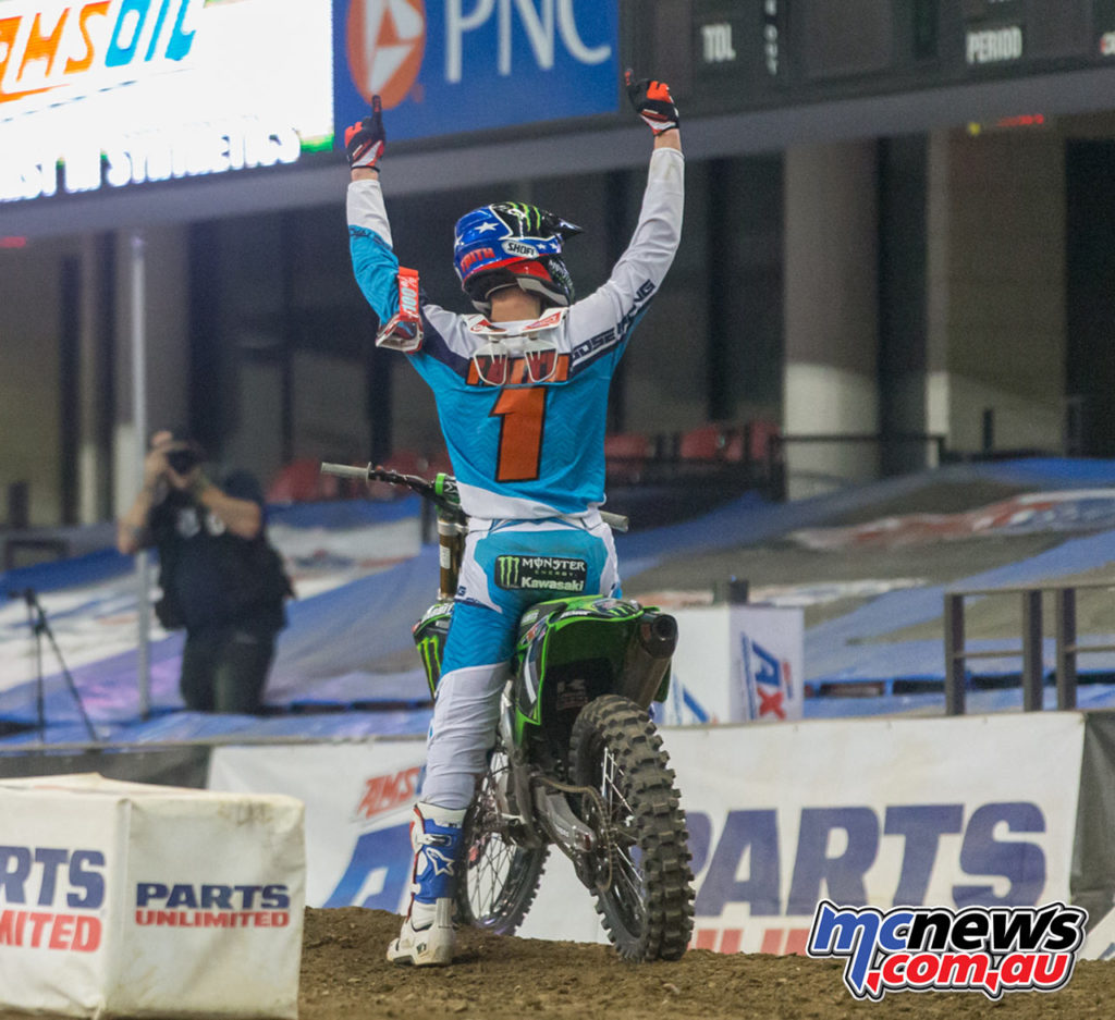 2017 AMA Arenacross Round 5 - Gavin Faith celebrates his win
