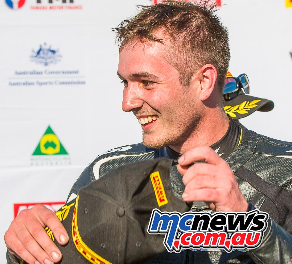 Mason Coote celebrates victory at the opening round of the Australian Supersport Championship at Phillip Island - Image by Cameron White