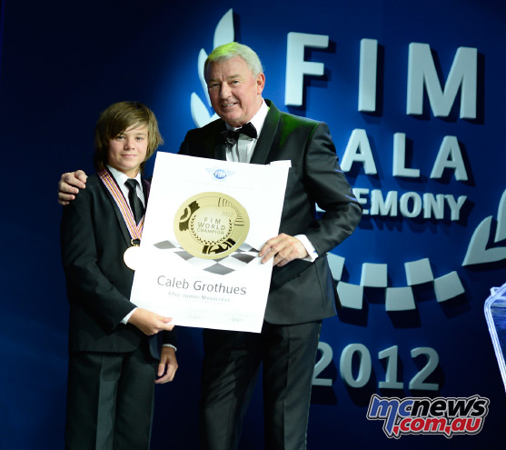 Former 65cc World Champion Caleb Grothues at the FIM Gala Ceremony 2012 Credit: Good - shoot