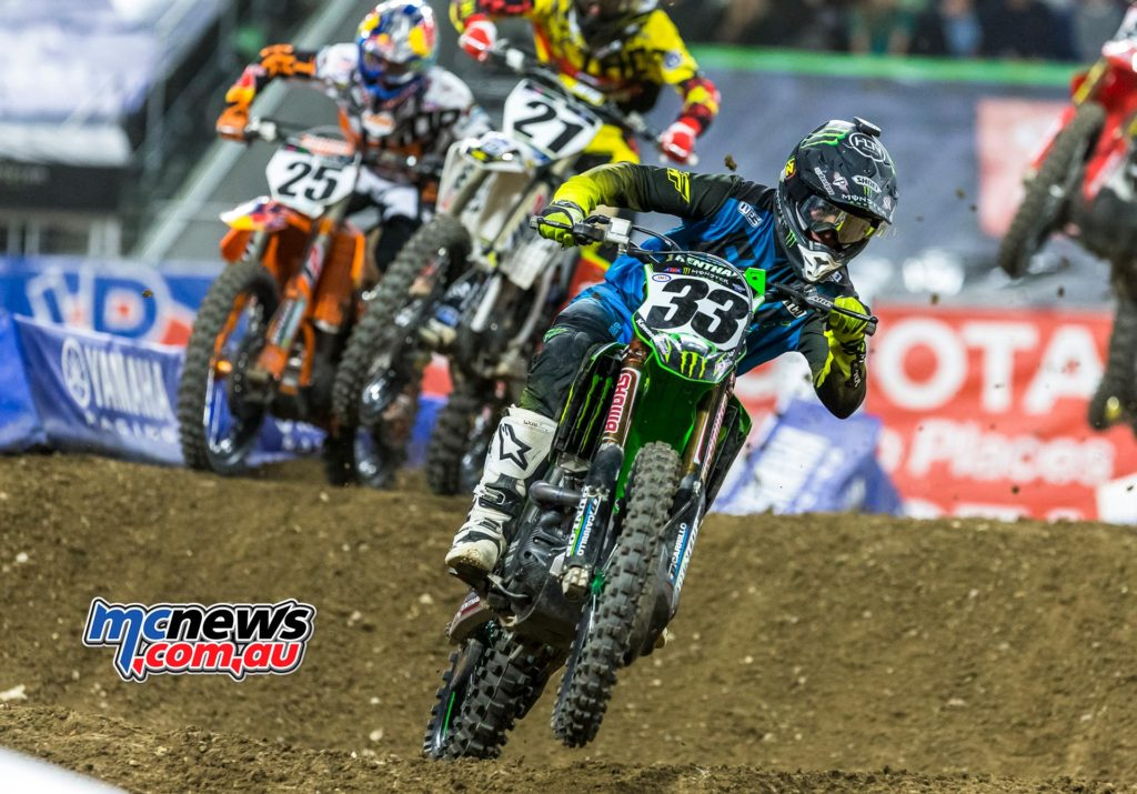 Cole Seely who edged out Monster Energy Kawasaki's Josh Grant for his first SupercrossLive.com Holeshot of the season