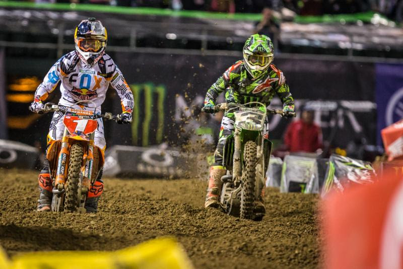 Dungey (1) led most of the Main Event, but lost the lead to Tomac (3) late. Photo: Feld Entertainment, Inc.