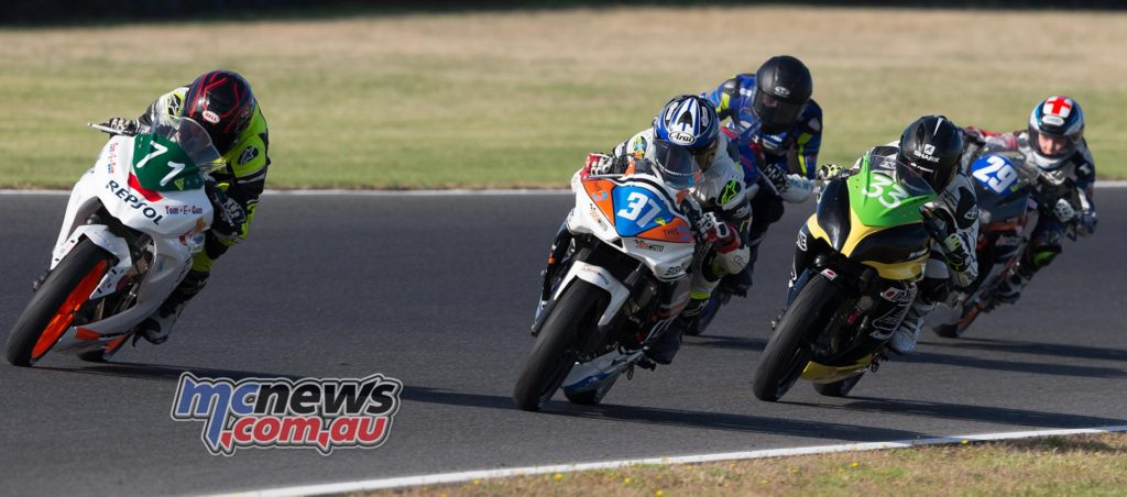 Tom Edwards leads Jack Mahaffy, Reid Battye, Zac Levy and Billy Van Eerde - Supersport 300 Race Three at Phillip Island - ASBK 2017 - Round One - Image by TBG