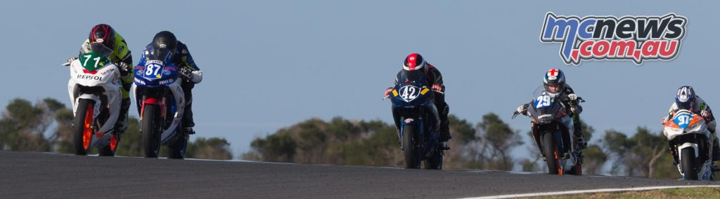 Tom Edwards leads Zac Levy and Jack Passfield - Supersport 300 Race Three at Phillip Island - ASBK 2017 - Round One - Image by TBG