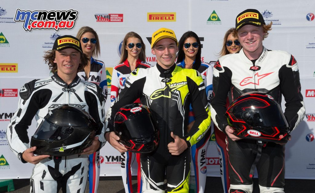 ASBK 2017 - Round One - 300 Supersport - Race Two Podium - Tom Edwards (1st), Reid Battye (2nd), Zac Levy (3rd)