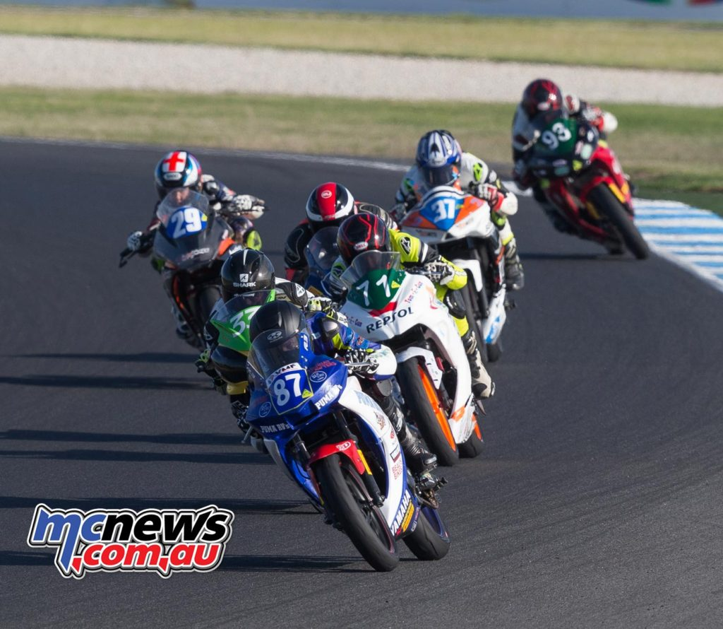 Zac Levy leads Supersport 300 Race Three at Phillip Island - ASBK 2017 - Round One - Image by TBG
