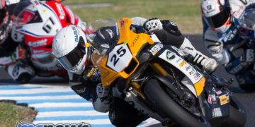 ASBK 2017 - Round One - Phillip Island - Race One - Falzon leads Glenn Allerton and Bryan Staring - Image by TBG