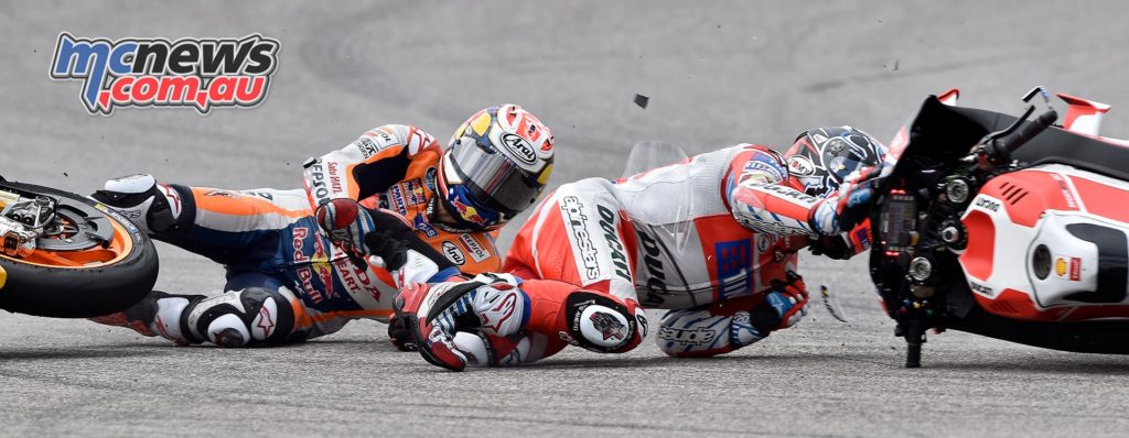 Alpinestars Tech Air seen here inflated and protecting Andrea Dovizioso and Dani Pedrosa