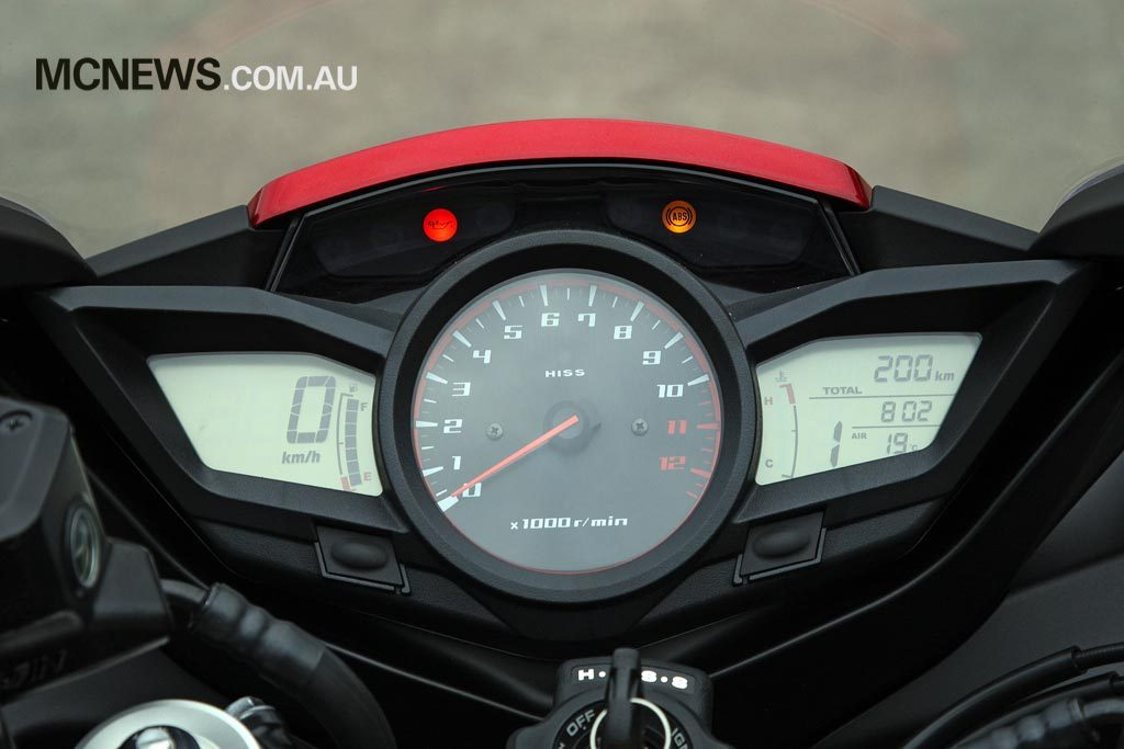 Riding Around Australia - Digital multi-function display and analogue tachometer