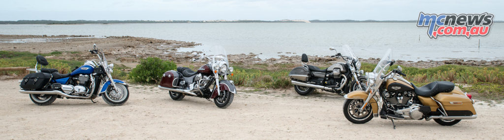Harley-Davidson Road King, Indian Springfield, Triumph Thunderbird LT and Moto Guzzi California Touring - Coorong