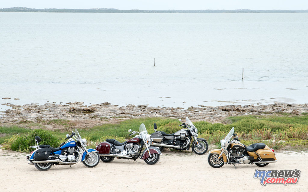 Harley-Davidson Road King, Indian Springfield, Triumph Thunderbird LT and Moto Guzzi California Touring - Coorong