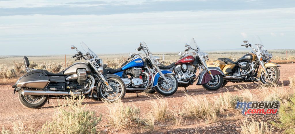 Harley-Davidson Road King, Indian Springfield, Triumph Thunderbird LT and Moto Guzzi California Touring