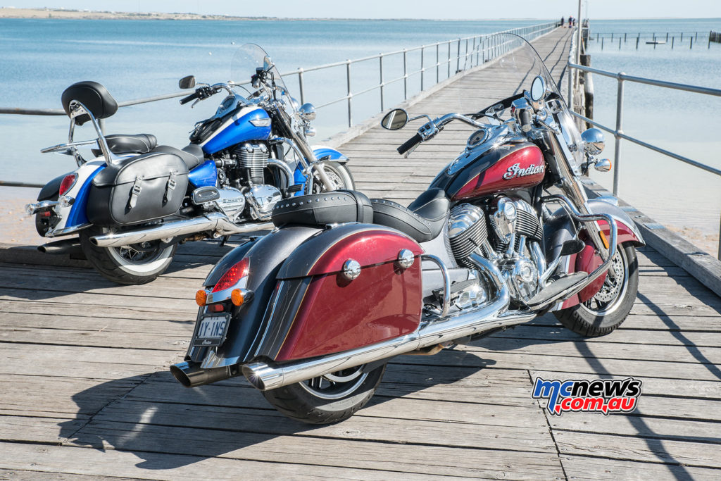 Triumph Thunderbird LT and Indian Springfield at Streaky Bay