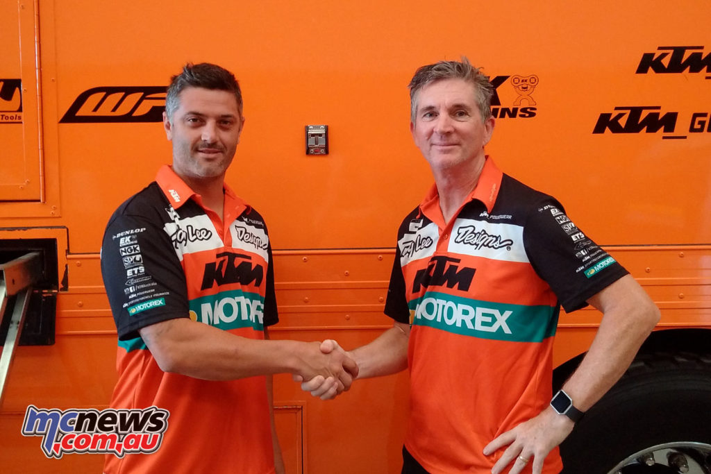 Jay Marmont and KTM Australia Motorsports Manager Rob Twyerould