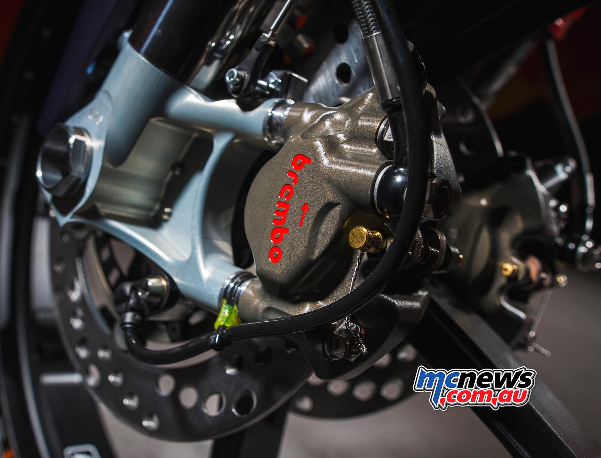 The radial mount Brembo used on the 2017 KTM RC250 Moto3 machine