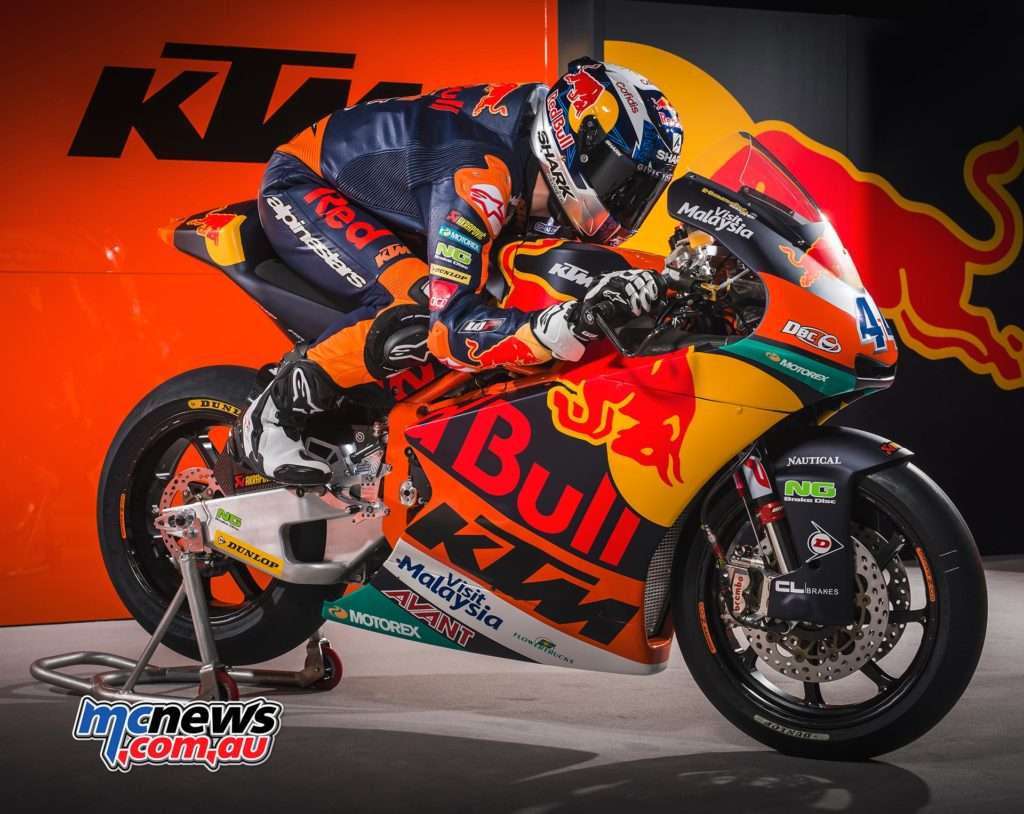 Miguel Oliveira is on the new KTM Moto2 machine for 2017