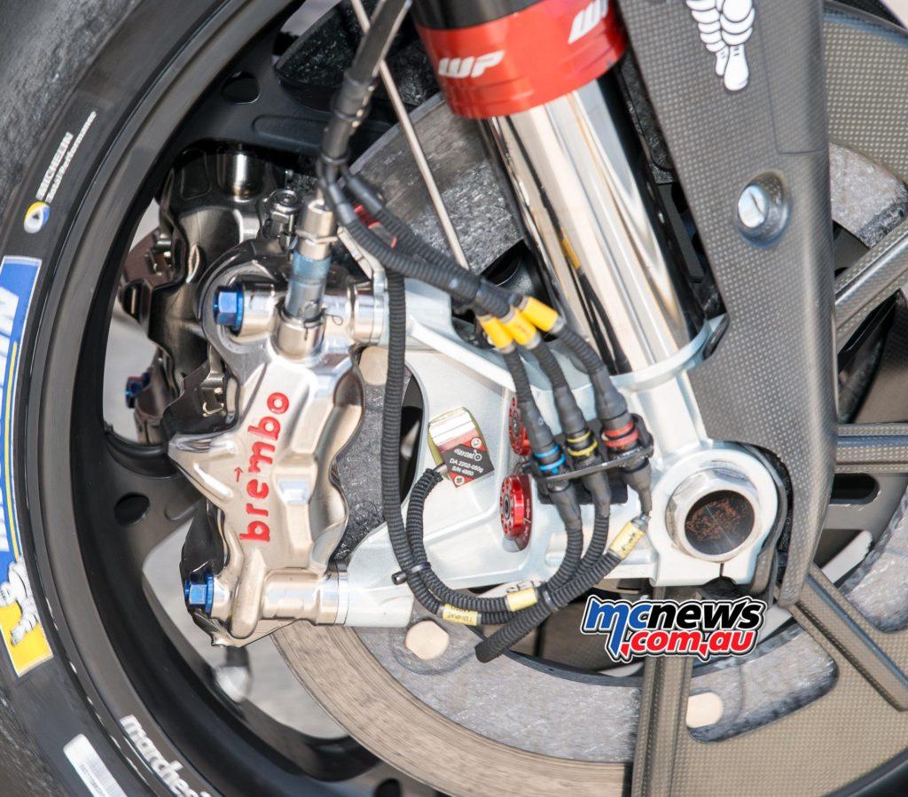 Modern Brembo MotoGP-spec radial monobloc calipers