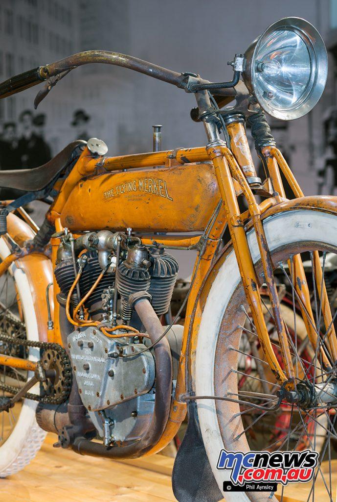 Barber Vintage Motorsport Museum - Early American motorcycles - Flying Merkel - Image: Phil Aynsley