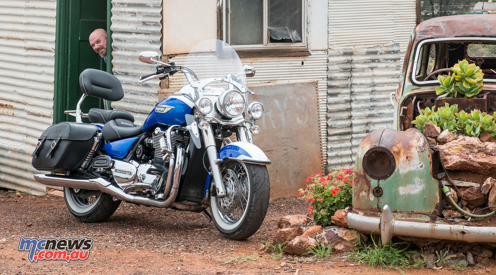 Triumph Thunderbird LT pictured at Hannans North Tourist Mine with Gav sicking his rude bollard out of the doorway