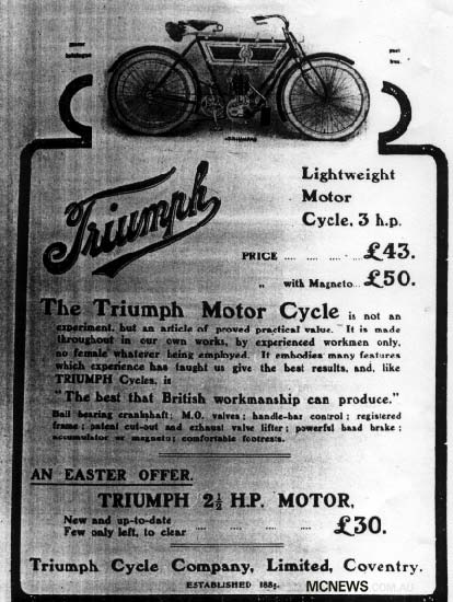 A Triumph advert from 1905