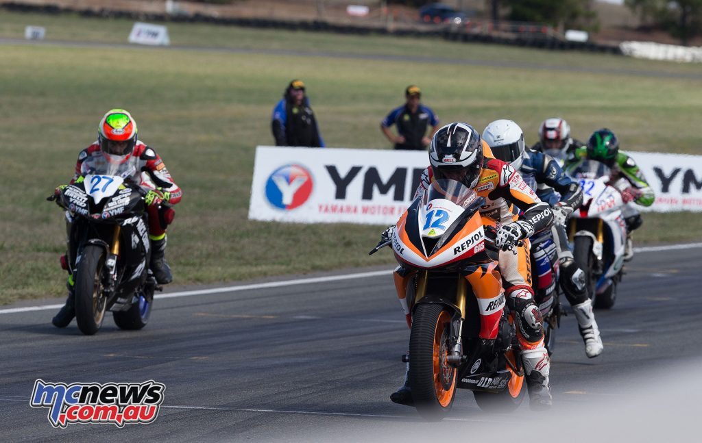 Supersport Race 2 start led by Mark Chiodo - Image by TBG