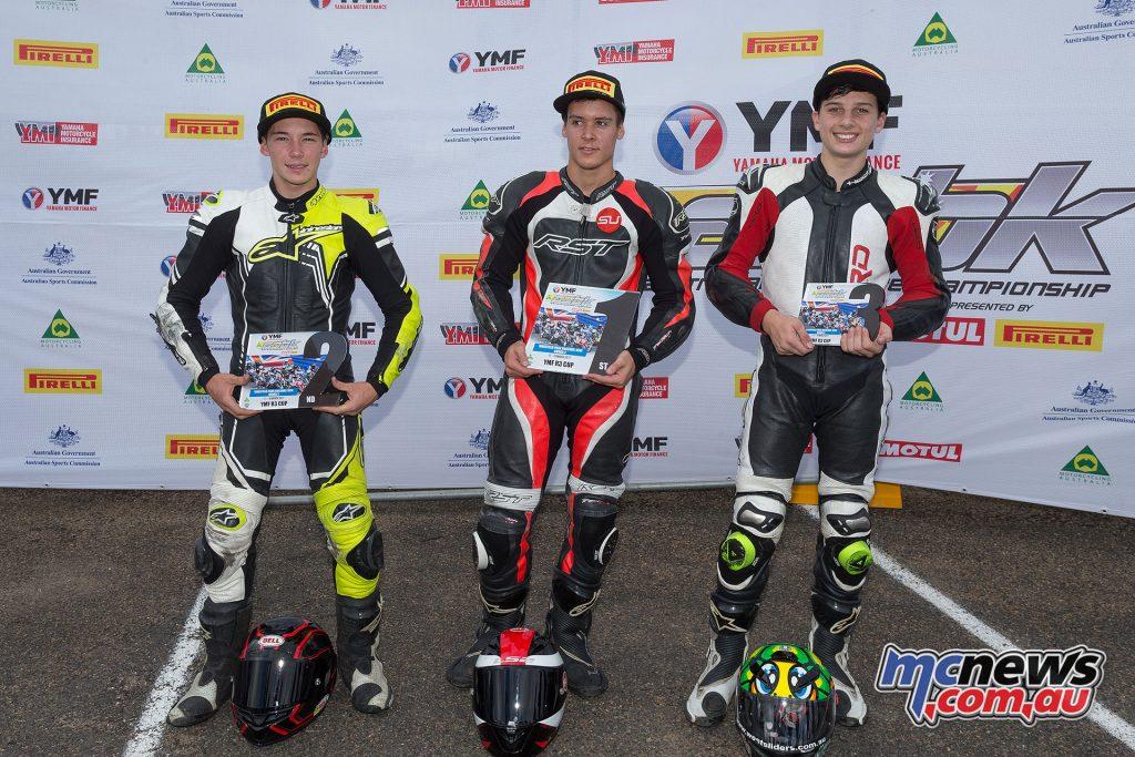 Yamaha R3 Cup podium - Image by TBG