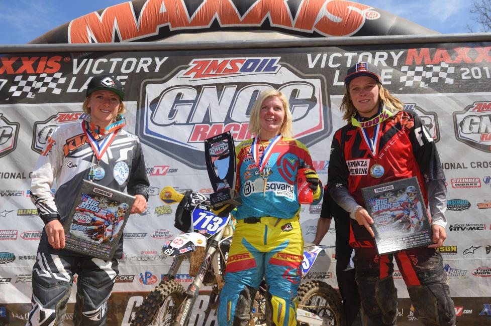 Overall Podium: (2) Becca Sheets, (1) Tayla Jones, (3) MacKenzi Tricker - Image: Ken Hill/http://gnccracing.com
