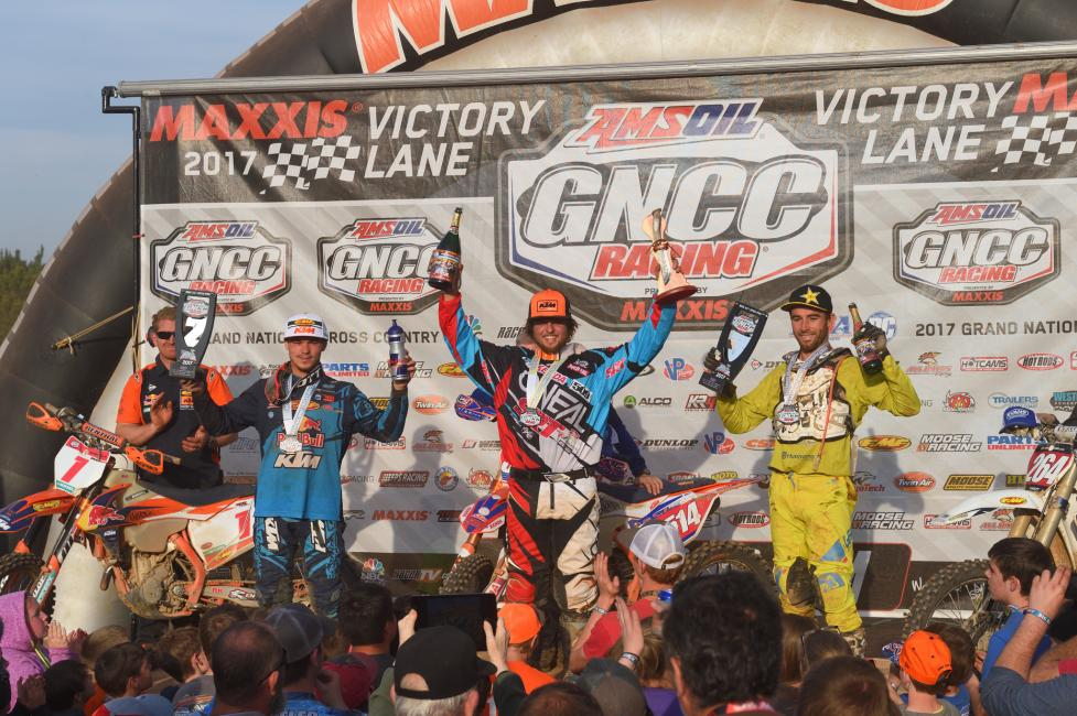 Overall Podium: (2) Kailub Russell, (1) Steward Baylor, (3) Ryan Sipes. Image: Ken Hill