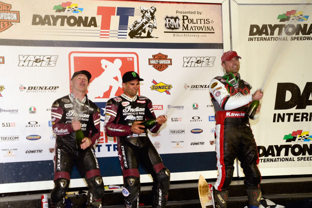 Bryan Smith, Jared Mees and Henry Wiles celebrate on the Daytona TT Podium - Image: Dave Hoenig